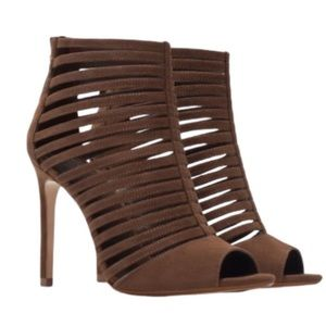 Zara Collection Brown Cage Suede Heel Sandal